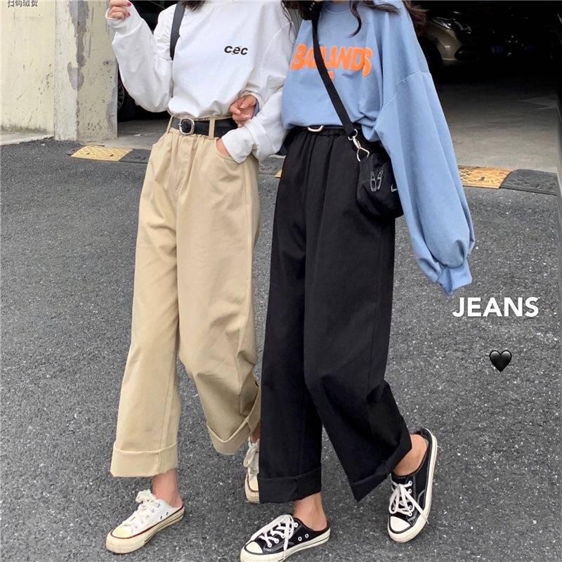 quần jeans nữ lưng cao ống rộng cá tính