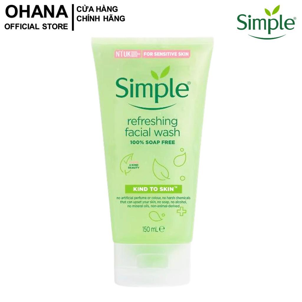 [Mã FMCG8 - 8% đơn 199K] Sữa Rửa Mặt Dạng Gel Simple Kind To Skin Refreshing Facial Wash 150ml
