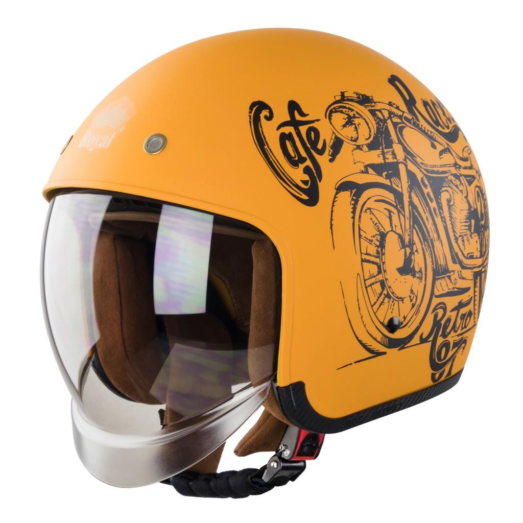 Mũ bảo hiểm Royal M139 kính âm V7 cafe racer mờ