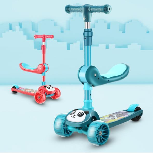 Xe trượt scooter cho bé hình gấu trúc có đèn có nhạc, mẫu mới xe có yên xe phù hợp cho bé từ 1 tuổi trở lên