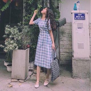 Đầm Maxi Caro Vintage, Đầm Dạo Phố Cột Eo Hai Kiểu Ms 1495