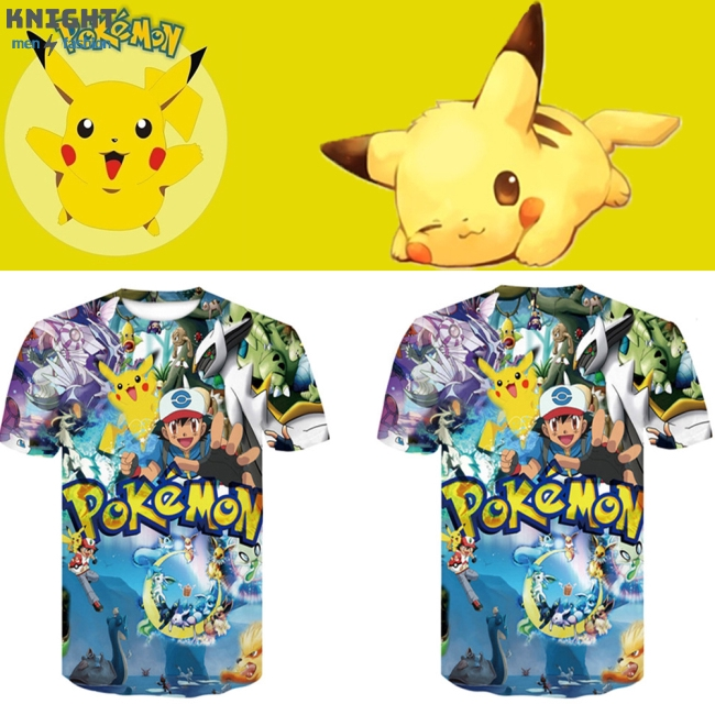 Fashion Summer Casual Anime Printing 3D Pokemon Pikachu Short Sleeve T-shirt for Men Women