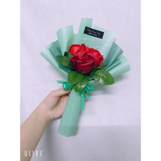 Bó hoa hồng sáp thơm 3 bông phối lá kiểu Hàn làm quà