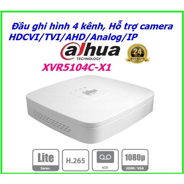 Đầu ghi hình 4 kênh 5 tronh 1 Dahua XVR5104C-X1, Hỗ trợ camera HDCVI/TVI/AHD/Analog/IP ( 1080P )