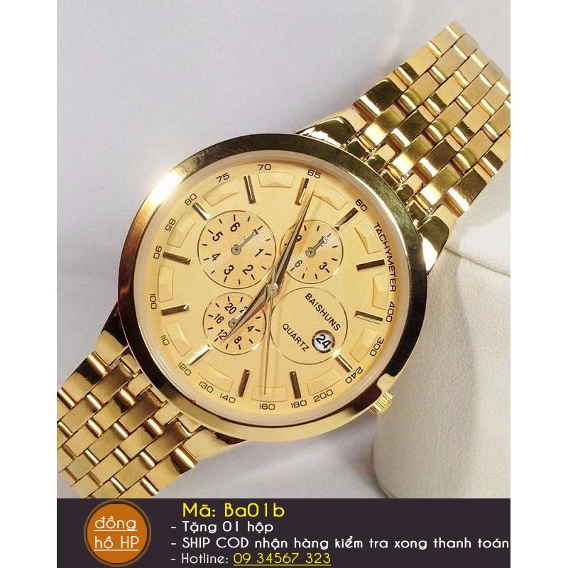 Đồng hồ nam Baishuns dây vàng