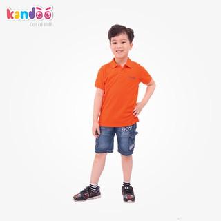 Áo polo ngắn tay bé trai KANDOO màu cam, thoải mái hoạt động, 100% cotton cao cấp mềm mịn, thoáng mát - DBPS1724
