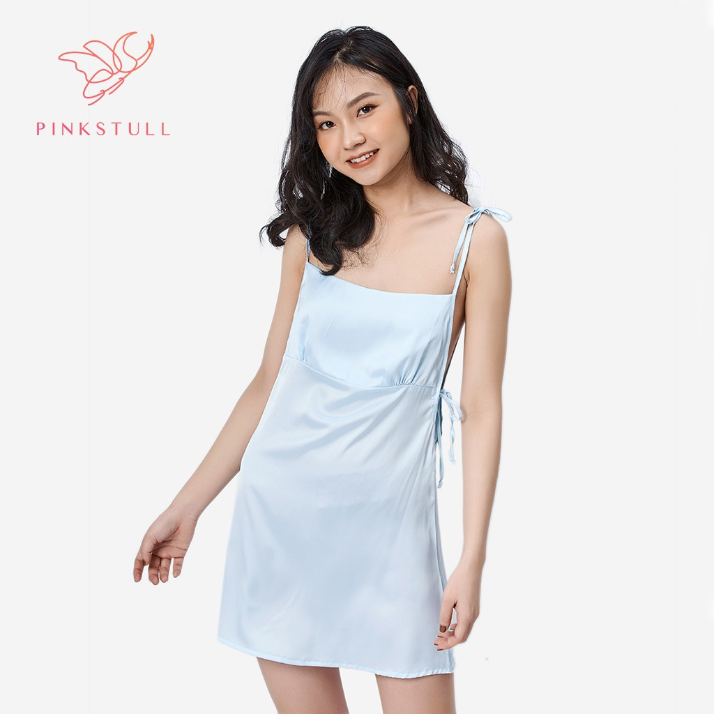 Coupon sản phẩm [Mã WABRHIGH giảm 15% đơn 300K] Váy lụa Pink Stull trơn cột dây xanh pastel