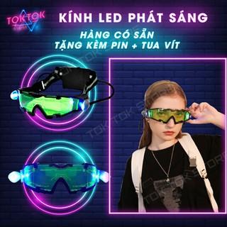 Kính LED – Mắt kính phát sáng chiếu đêm quay tiktok phụ kiện thời trang tặng kèm pin và tua vít có bảo hành.