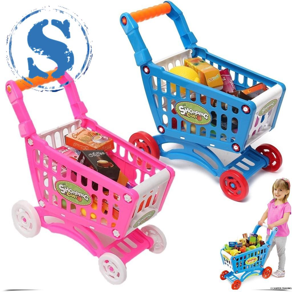 Kids Mini trolley Simulation Supermarket Shopping Cart with Fruit Vegetable