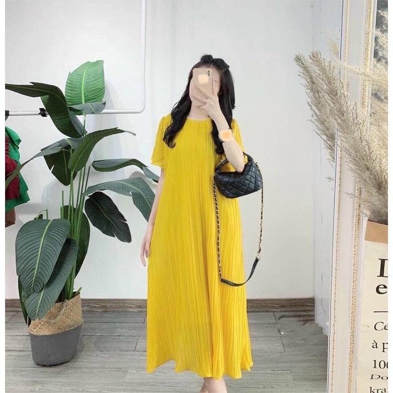 Mặc gì đẹp: Dễ chịu với Váy đầm bầu mùa hè cộc tay siêu mát dập ly thiết kế cao câp