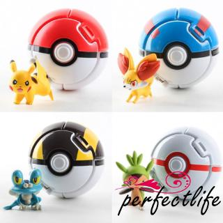 ★HZL2019 Throwing Automatic Bouncing Pokeball with Pokemon Pikachu Anime Action Characters Creative Fun Children´s Toy