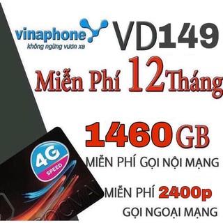 Bán Sim 4G Vina VD149 1 năm- 1440Gb+ gọi nội mạng free+2400 phút ngoại mạng+2400sms NM/Năm