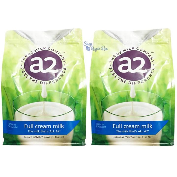 Bộ 2 túi Sữa tươi dạng bột nguyên kem A2 Úc túi 1kg(Hàng nhập khẩu), HSD: 6
