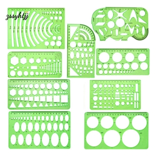 9 Pieces Geometric Drawing Templates Measuring Rulers Plastic Draft Rulers for School Office Building – Clear Green