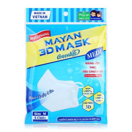 Khẩu Trang Y Tế Mayan 3D Mask Greenlife Medi 5 Chiếc - Trắng
