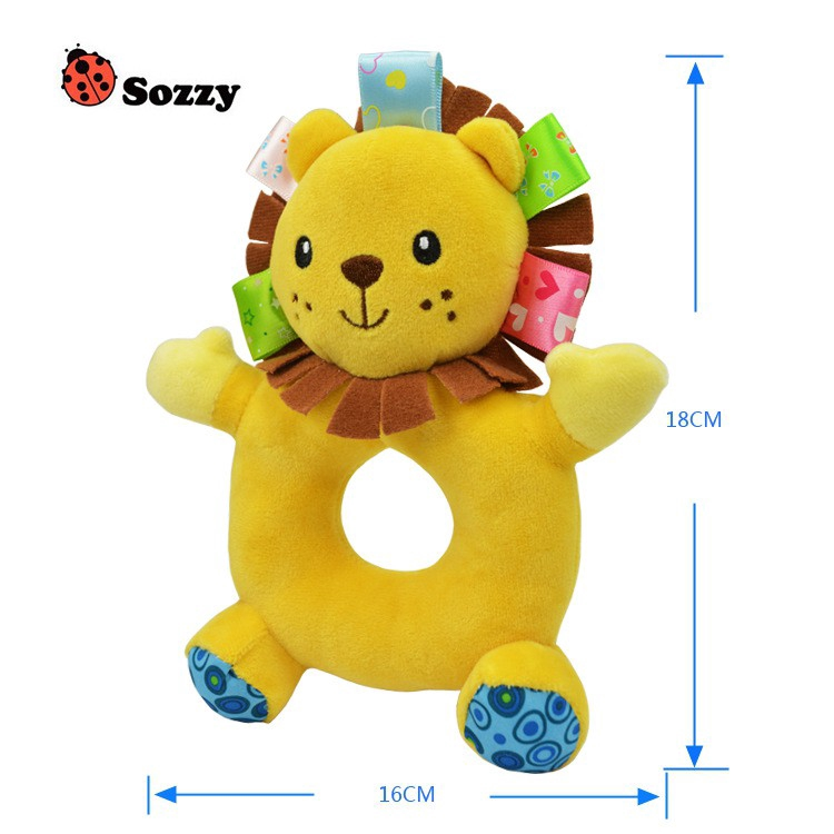 Sozzy Cute Soft Infant Rattles Plush Stuffed Animals Soothing Circle Bell Toys