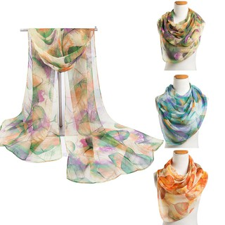 YOUNGBEST Women Leave Print Retro Silk Scarf