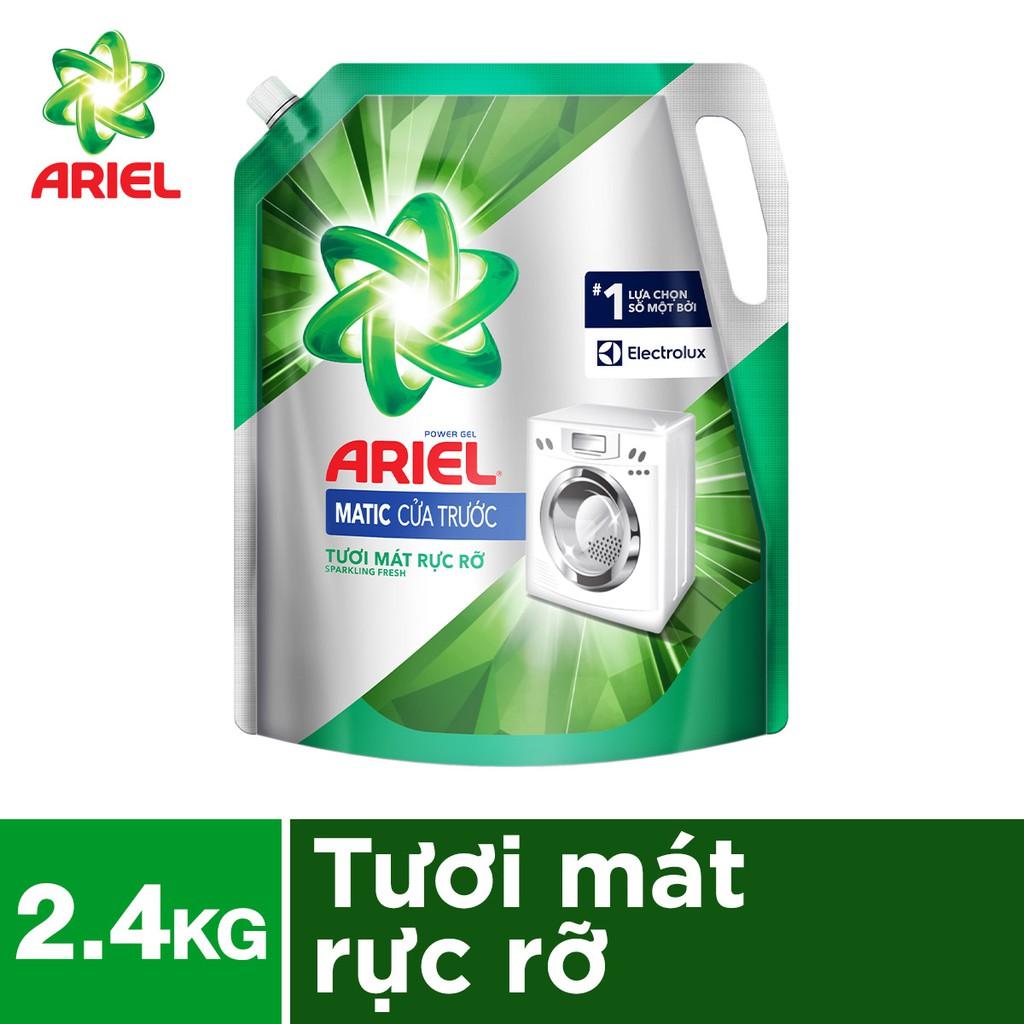 Nước giặt Ariel Matic cho máy giặt cửa trước túi 2.4kg hương tươi mát rực rỡ (MỚI)