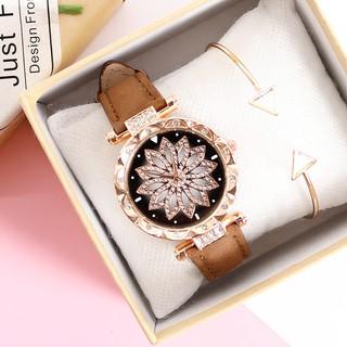 Đồng hồ nữ MSTIANQ M019 phong cách đơn giản đồng hồ nữ mặt hoa viền đính đá hoang dã xu hướng thời trang 2020 dây da PU