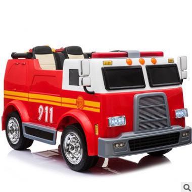 Ô tô xe điện đồ chơi cứu hỏa LL-911 cho bé đủ bộ phụ kiện bộ đàm và còi hú (Đỏ-Đen)