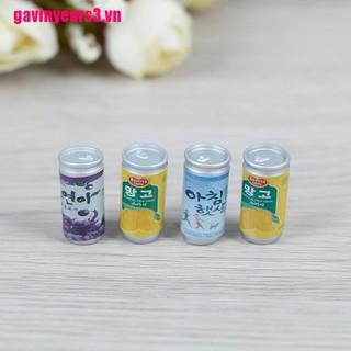{GAV3}4Pcs 1:12 Dollhouse miniature drink cans fou doll house kitchen decorate