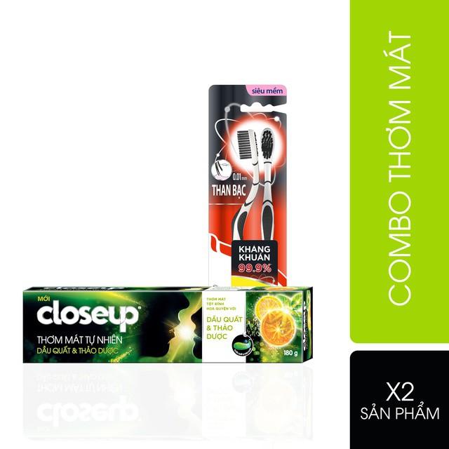 Combo 1 kem đánh răng Closeup thơm mát tự nhiên Dầu quất thảo dược 180g + Bộ 2 bàn chải đánh răng P/S than bạc