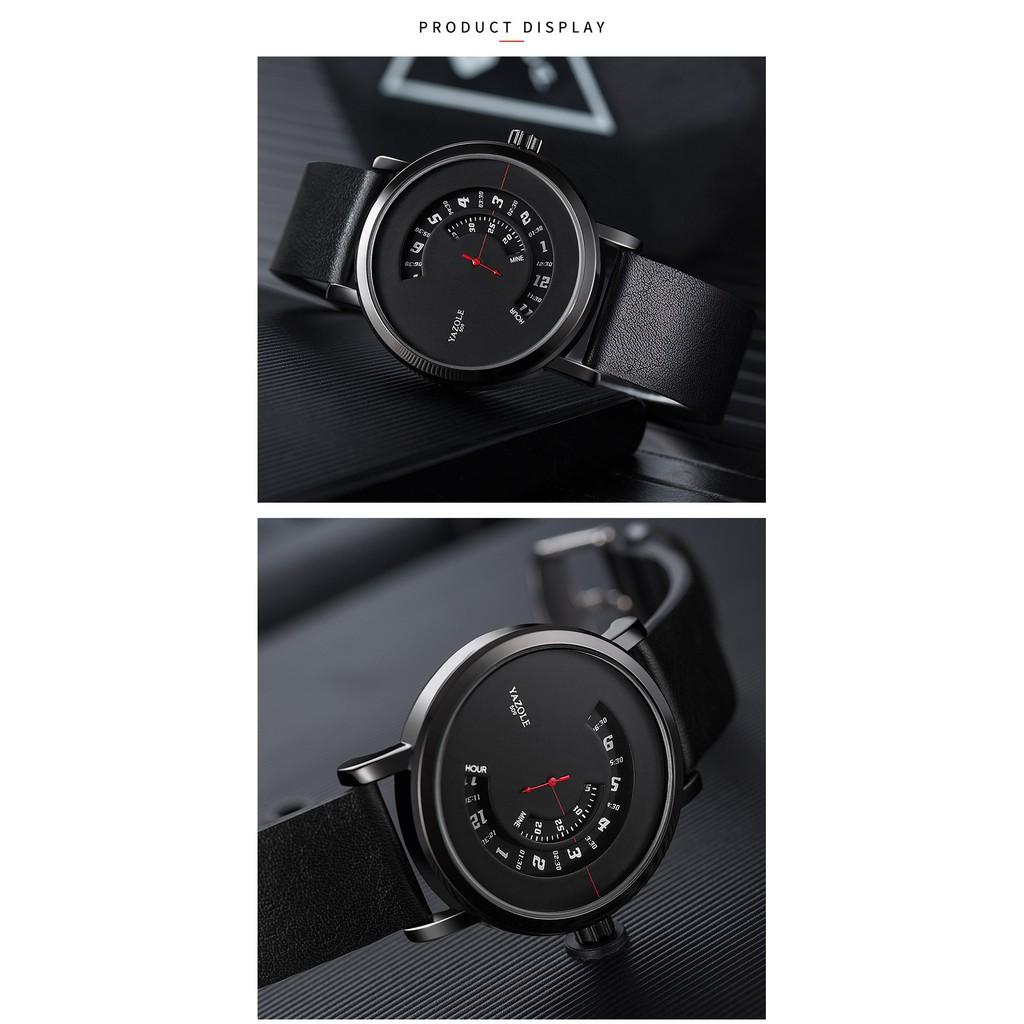 Đồng hồ nam Yazole 509 510 518 519 dây da sang trọng, kim chạy dọc