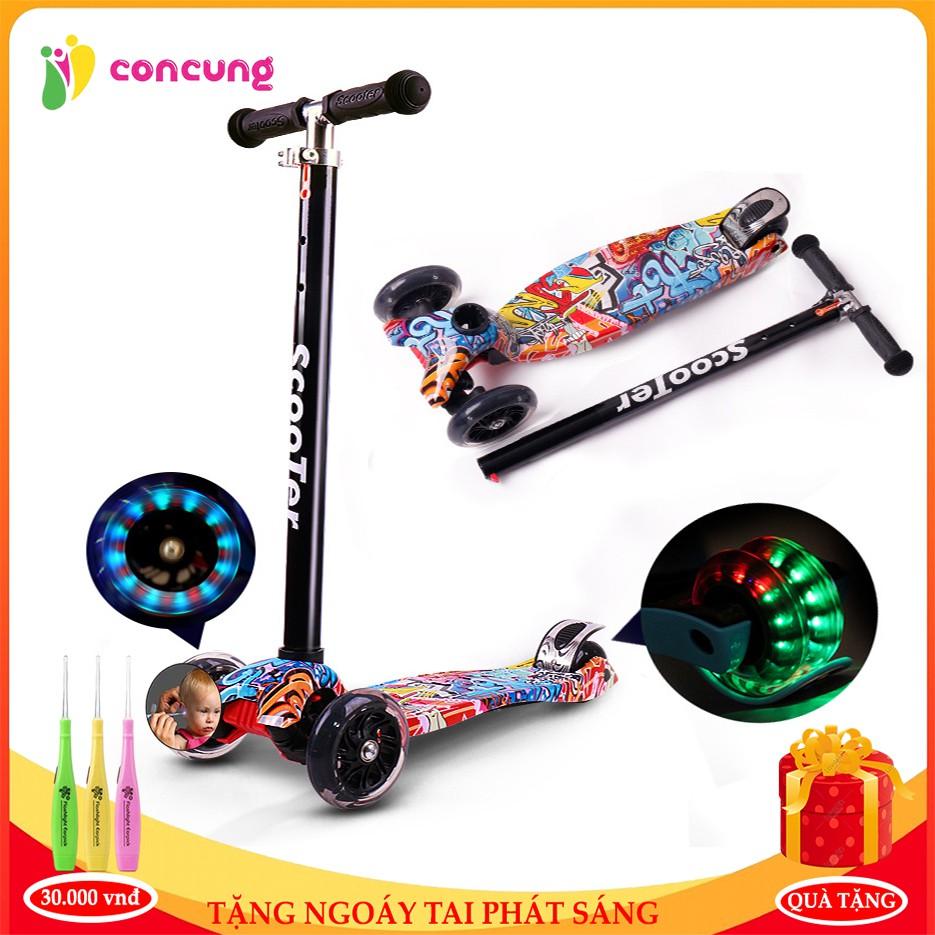 Xe Scooter, scooter trẻ em cao cấp ba bánh phát sáng ,siêu thế hệ mới thiết kế màu sắc độc đáo cho bé thoả sức vận động