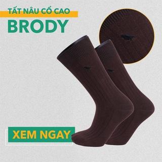 Tất Vớ Nam Cổ Cao – Combed Cotton Cao Cấp – Màu Nâu – Brody
