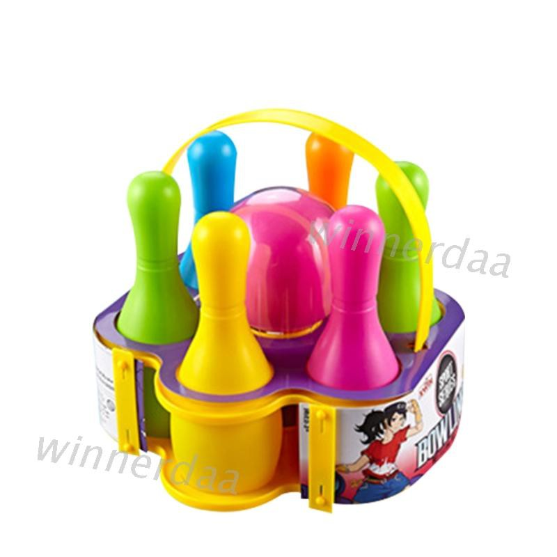 6 Pins 1 Ball Kids Sports Bowling Ball Toy Set Colorful for Children