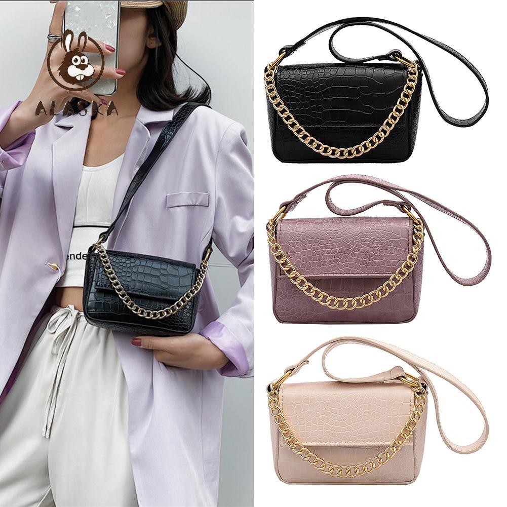 Pure Shoulder Bag Female Alligator PU Small Square Messenger Chain Handbags