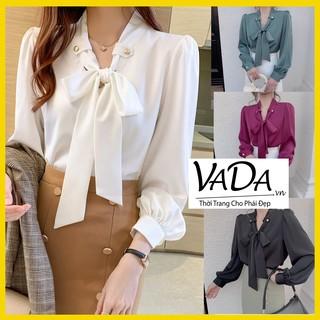Áo sơ mi lụa cao cấp MẪU MỚI NHẤT 2020 phong cách Hàn Quốc, mua ở các shop lớn là trên 250k, thời trang VADA -SM 0001 thumbnail