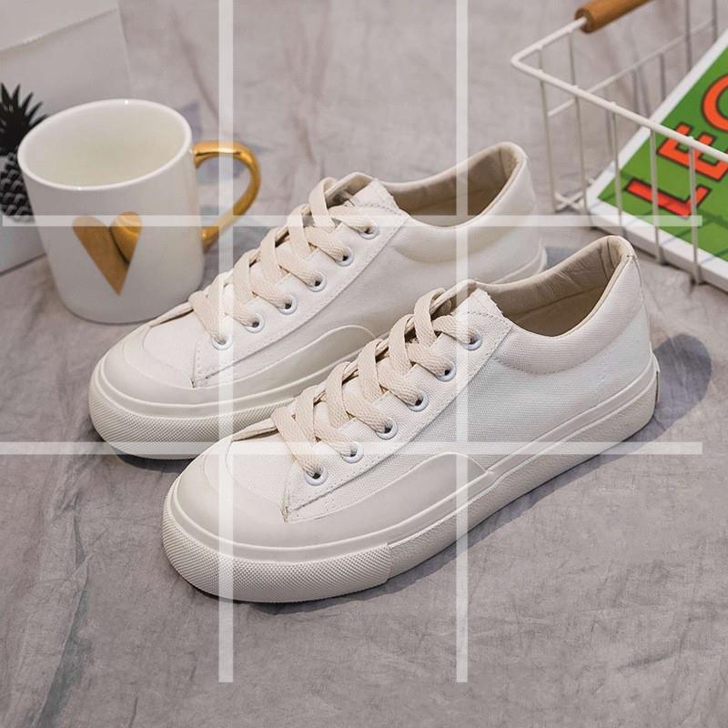 Giày Thể Thao Vải Canvas Mũi Tròn Chống Va Chạm Phối Dây Thắt Trẻ Trung Hợp Thời Trang
