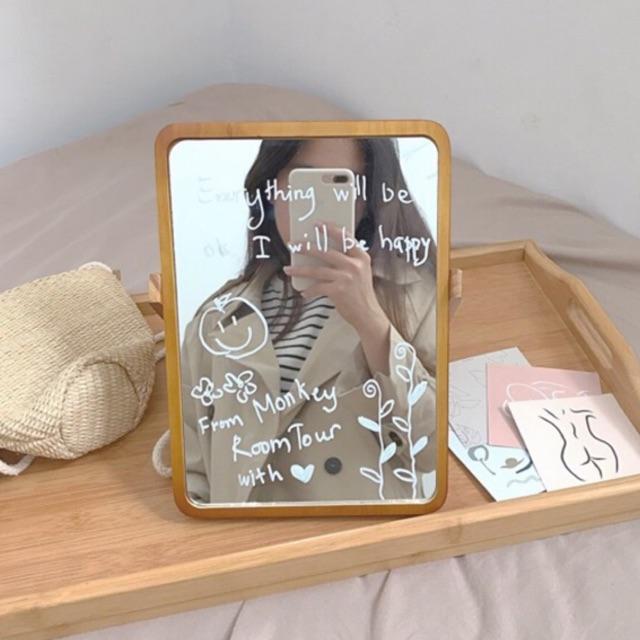 [ảnh thật shop chụp] Gương gỗ Để Bàn Hàn Quốc ✩ Tặng Kèm Bút Vẽ