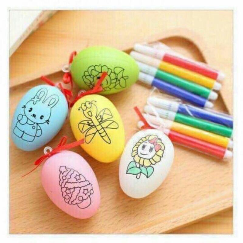 10 Trứng tô màu cho bé kèm 10 bộ bút- Đồ chơi tô màu
