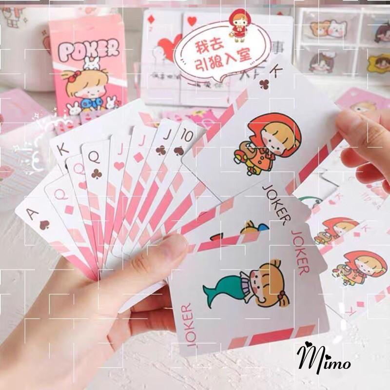 Bộ bài tây, tú lơ khơ họa tiết dễ thương poker 52 lá in hình cute ngộ nghĩnh, hoạt hình siêu đáng yêu