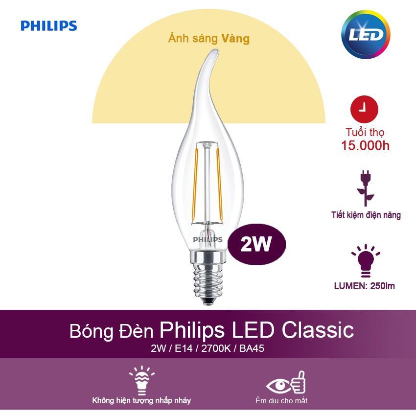 Bóng đèn Philips LED Classic 2W 2700K E14 BA35