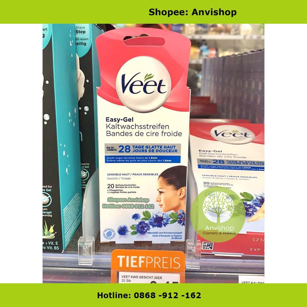 Miếng Wax ria mép Veet 20 dải sáp tặng 4 gói dưỡng da bill Đức Anvishop