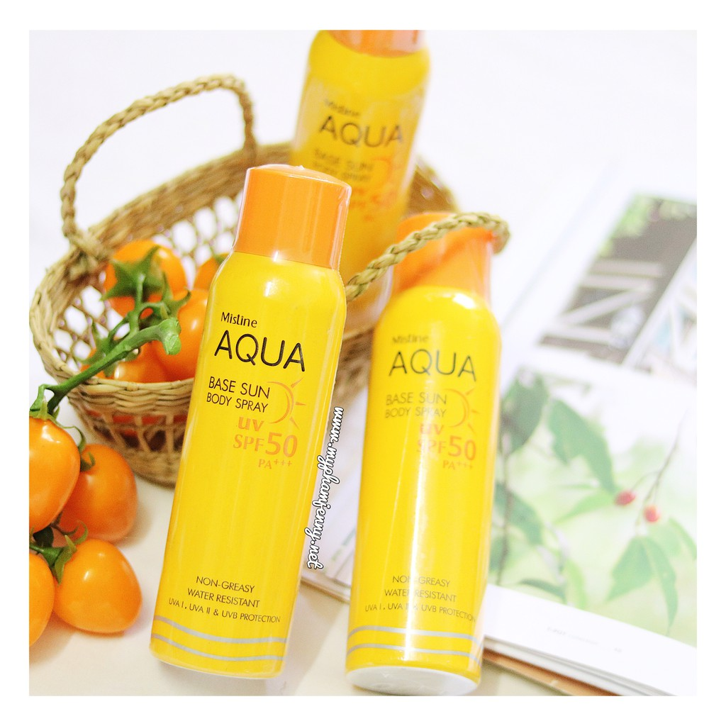 Xịt Chống Nắng Mistine Aqua Base Sun Body Spray UV SPF50 PA+++ - 2390620 , 1872602 , 322_1872602 , 160000 , Xit-Chong-Nang-Mistine-Aqua-Base-Sun-Body-Spray-UV-SPF50-PA-322_1872602 , shopee.vn , Xịt Chống Nắng Mistine Aqua Base Sun Body Spray UV SPF50 PA+++