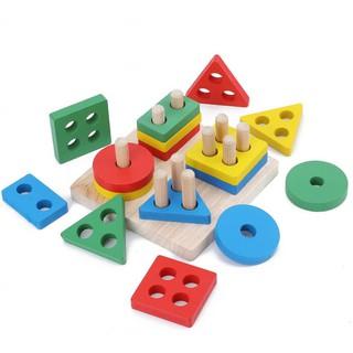 Bộ thả hình khối cột trụ bằng gỗ – Học liệu Montessori – Đồ chơi gỗ