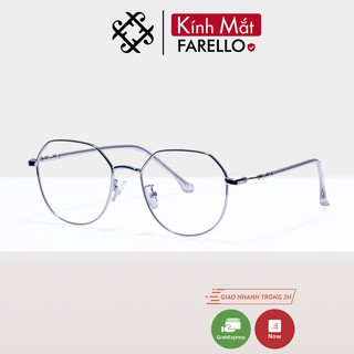 Gọng kính cận nữ kim loại FARELLO mắt tròn thanh mảnh nhẹ nhàng màu sắc thời trang 29100