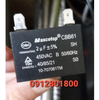 Tụ quạt điều hòa 2uf+-5%- 450VAC