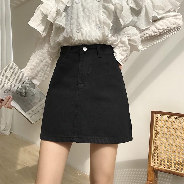 Chân váy chữ A lưng cao kiểu dáng đơn giản phong cách Hàn Quốc cho nữ