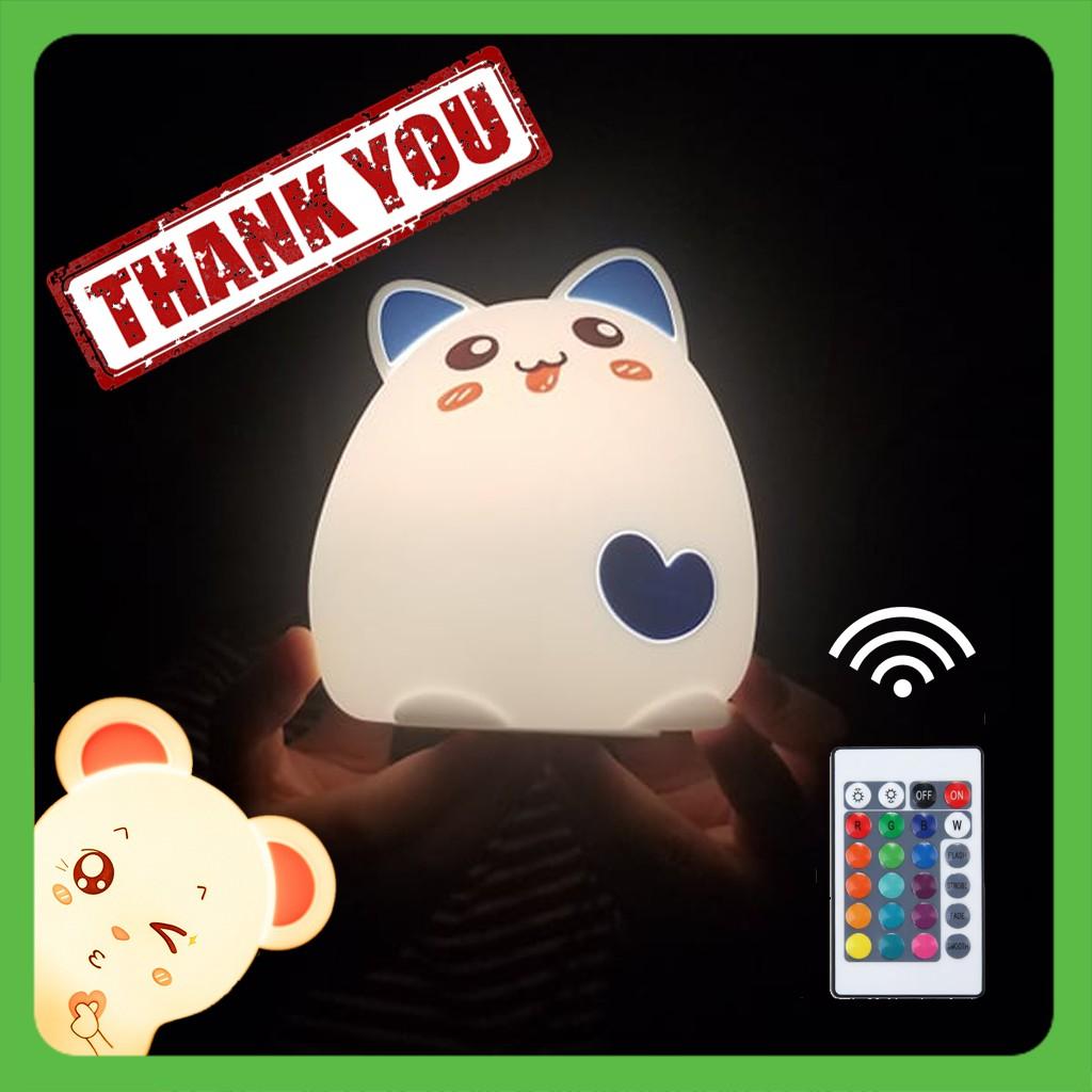 Đèn Ngủ Cảm Ứng Silicon Mèo Dễ Thương [Điều Khiển Từ Xa] [Ảnh Thật] [ đèn ngủ silicon cute mini cho phòng bé ]