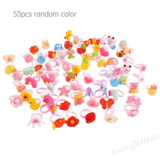50pcs Plastic Kids Cartoon Colorful Children Ring Girl Birthday Party Gift