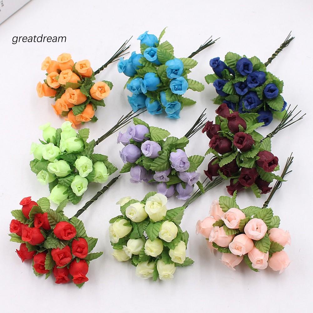 Bó 12 hoa hồng giả trang trí tiệc nhà cửa xinh xắn