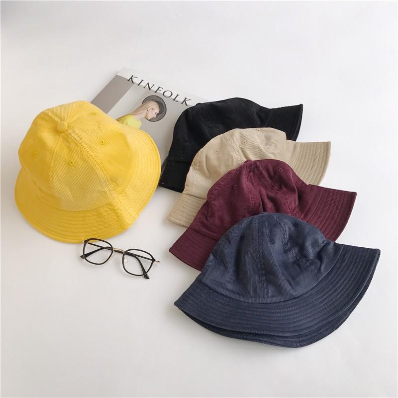 Nón bucket màu trơn thiết kế đơn giản hợp thời trang