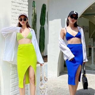 Chân Váy Dệt Kim Xẻ Tà Thời Trang Cho Nữ