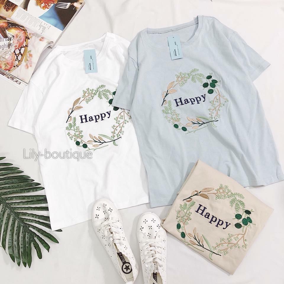 áo phông lá thêu happy