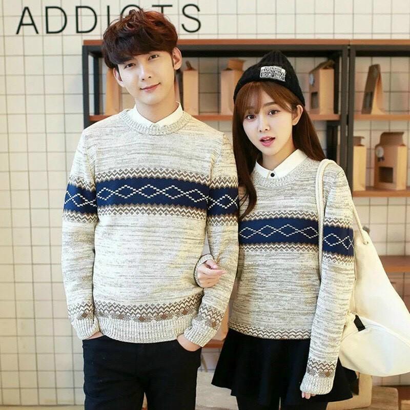 Áo len nam nữ đôi đẹp, Đồ đôi thu đông dài tay cổ tròn thời trang Hàn Quốc